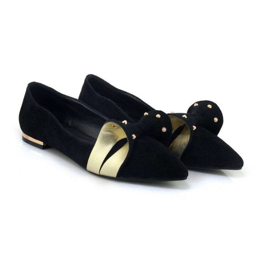 TYAW-Calzature Donna Tacco Basso Appuntita Scarpe in Pelle di colore Solido Rivetto