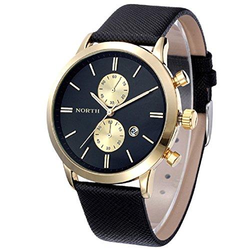 FEITONG Herrenuhr Mode Beiläufige Wasserdichte Leder Band Militär Analoge Quarz Datum Armbanduhr Schwarz-Gold Neu