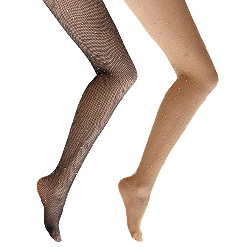 Ypser Fishnet Tights Mesh Stockings Sparkle Rhinestone Glittering Net Pantyhose