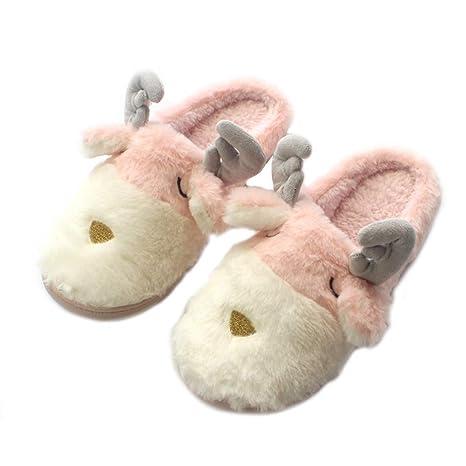 Zapatillas de Casa Mujer Zapatillas Venado de Navidad Zapatillas Algodón Zapatillas Invierno Suave Slippers