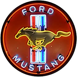 Neonetics 9MUSTB Ford Mustang RED 36 INCH NEON Sign in Metal CAN, White, Yellow/Blue