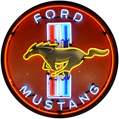 Neonetics 9MUSTB Ford Mustang Red 36 Inch Neon Sign in Metal Can, Red, White, Yellow/Blue Neon