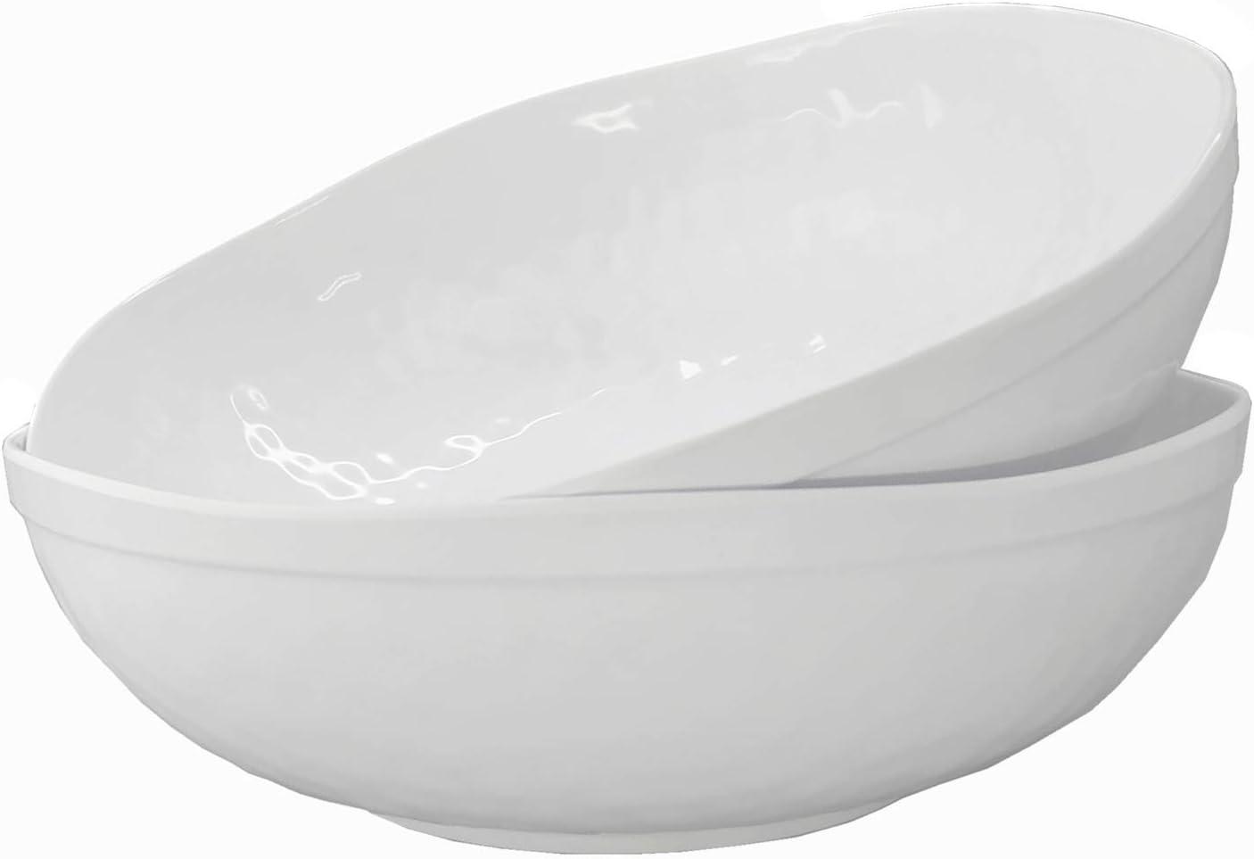 Melamine Serving Bowls -2pcs 12inch Larger Salad Bowls/Mixing Bowls,White Color  Break-resistant 100% Melamine Bowls   Dishwasher Safe,BPA Free