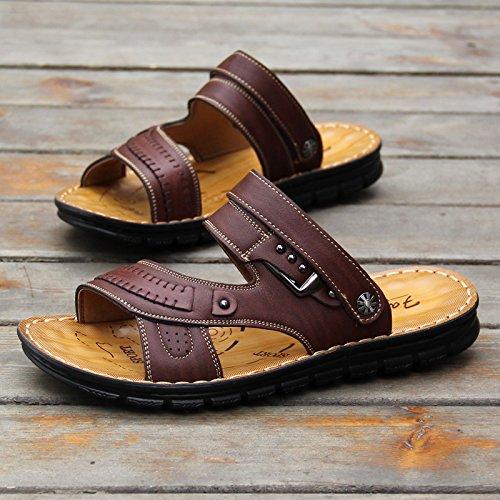 De Moda Coreano Toe Playa Doble Dark Zapatillas 103 Inferior Calzado sandals Blanda Brown Antideslizante Casual Zapatos Masculina Finalidad Sandalias Verano fvf0qd