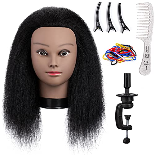 Mannequin Head with Human Hair Training Head 16″100% Real Hair Doll Head for Hair Practice Styling Manikin Cosmetology Doll Head Straight Training Head Beauty School Hair Practice Head