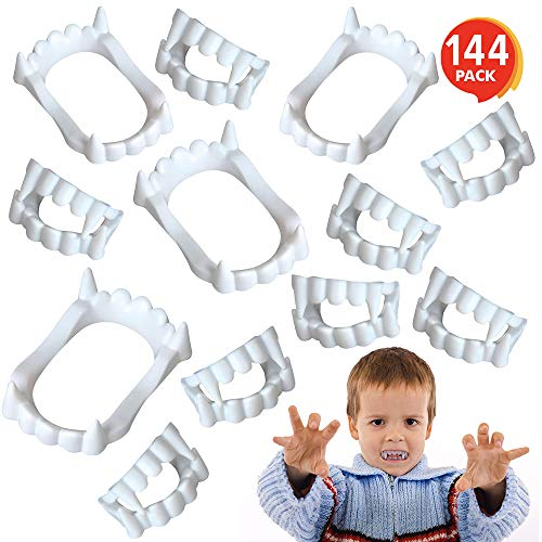 Quick Creative Halloween Costumes (ArtCreativity White Vampire Fangs for Kids and Adults - Bulk Pack of 144 - Vampirina Party Supplies, Dracula Costume Accessories, Best for Halloween Party Favors, Treats, Décor, Goodie)