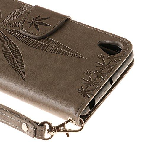 Funda Xiaomi Redmi Note 4 Case , Ecoway Patrón de la hoja de arce en relieve PU Leather Cuero Suave Cover Con Flip Case TPU Gel Silicona,Cierre Magnético,Función de Soporte,Billetera con Tapa para Tar gris