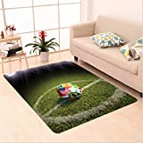 Nalahome Custom carpet Soccer Ball on a Soccer Field Printed Flags of the Participating Countries Image Green White Red area rugs for Living Dining Room Bedroom Hallway Office Carpet (6' X 9')