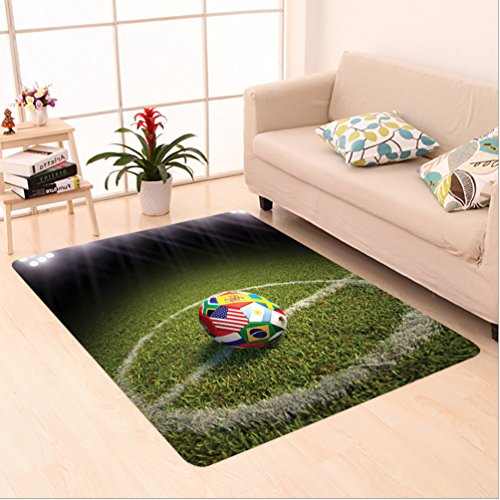 Nalahome Custom carpet Soccer Ball on a Soccer Field Printed Flags of the Participating Countries Image Green White Red area rugs for Living Dining Room Bedroom Hallway Office Carpet (6' X 9') by Nalahome