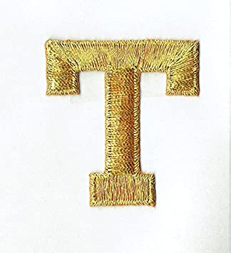 100% Embroidered Iron On Letters Metallic Gold