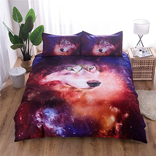 XiYunHan 3D Creative Design Starry Animal Wolf Quilt Set of Three Sets of Bedding. (Size : 200×230) by XiYunHan
