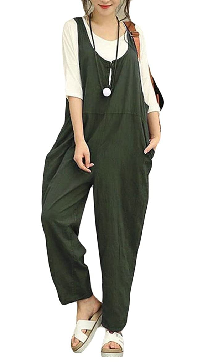 ouxiuli Womens Baggy Sleeveless Plus Size Overalls Jumpsuits Wide Leg Rompers