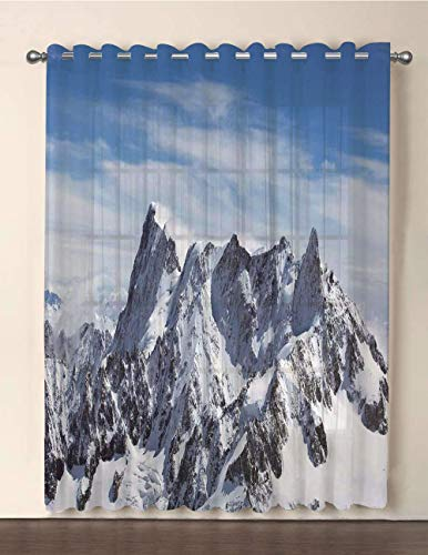 - iPrint One Panel Extra Wide Sheer Voile Patio Door Curtain,Farmhouse Decor,Picturesque Mont Blanc Cliff to Cloud Idyllic Environment Trekking Landmark,White Blue,for Sliding Doors(108
