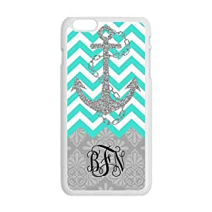 Cyan Chevron Zigzags Gray Anchor & Gray Vintage European Pattern Damask Print Style & Black Initials Or Name Personalized Custom Best Plastic Hard Case for iPhone6 Plus (Only for 5.5 inches) ,Black or White for Choice