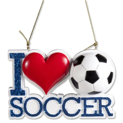 Kurt Adler I Love Heart Soccer Glitter Christmas Ornament
