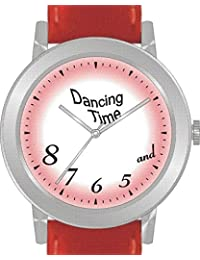 """Dancing Time"" Is the Theme on the Red Dial of the Large Round Polished Chrome Watch with Red Band"
