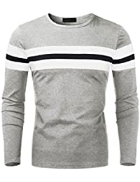 Men's Round Neck Color Block Cotton Long Sleeve Polo Stretchy Fit T-Shirt Top