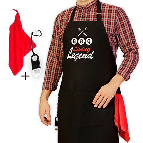 GrilliACS BBQ Aprons for Men with Big Pockets, Bottle Opener and Towel Included, Professional Grill Chef Apron for Barbeque, Grilling, Cooking, Kitchen, Funny Dad Apron, Fathers Birthday Gift, Black