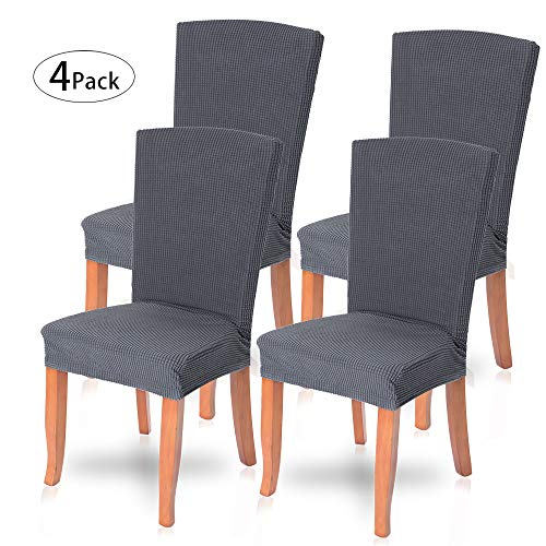 ChicSoleil 4PCS Spandex Removable Dining Chair Cover, Stretch Elastic Dining Seat Cover, Dining Room Covers with Printed Pattern, Banquet Protector slipcovers for Home, Party, Hotel, Wedding
