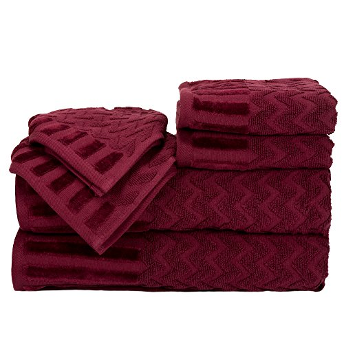 (Lavish Home 6-Piece Cotton Deluxe Plush Bath Towel Set - Chevron Pattern Plush Sculpted Spa Luxury Decorative Body, Hand and Face Towels (Burgundy))