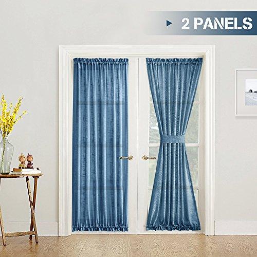 jinchan Sheer French Door Panels 72 Inch Linen Textured Voile Room Darkening 2 Panels Patio French Door Curtains with Bonus Tie Backs, Navy Blue, 1 Pair (2 1 2 Inch Wide Pocket Curtain Rod)