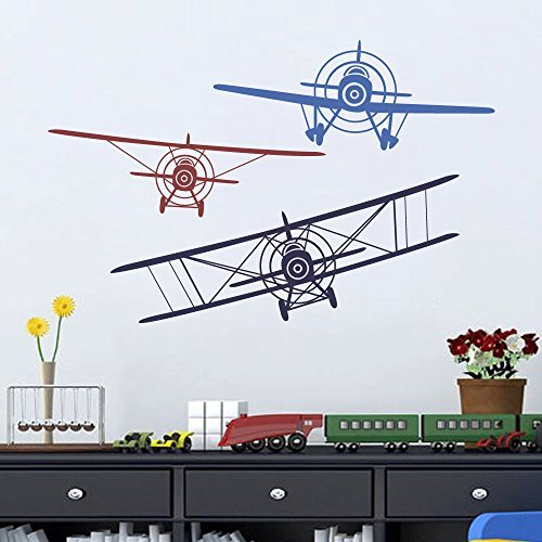 Wall Decal Decor 3 Airplane Set Vinyl Wall Decal 3 Colors Children Boys Flying Planes Bedroom Playroom Decor Gift (navy blue+dark red+medium blue, Medium Set) ()