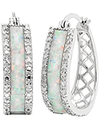 Sterling Silver1/4cttw Natural Round-Cut Diamond (J-K Color, I2-I3 Clarity) Lab Opal U Hoop Click Top Earring