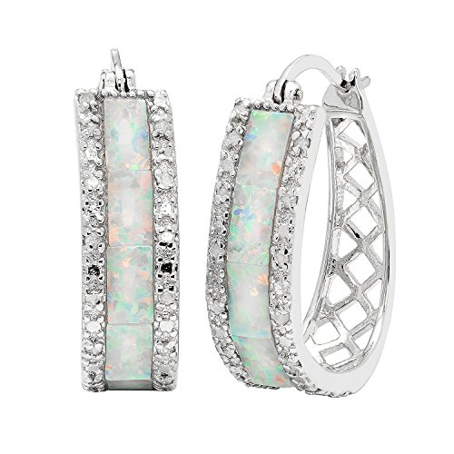 JewelExclusive Sterling Silver1/4cttw Natural Round-Cut Diamond (J-K Color, I2-I3 Clarity) Lab Opal U Hoop Click Top Earring by JewelExclusive