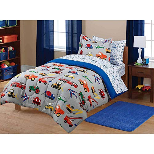 Price comparison product image 7 Piece Boys Multi Color Twin Transportation Themed Comforter Set With Sheets, Planes Tractors Cars Fire Trucks Red Blue Train Vehicles Printed, Reversible White Navy Printed Kids Bedding, Polyester