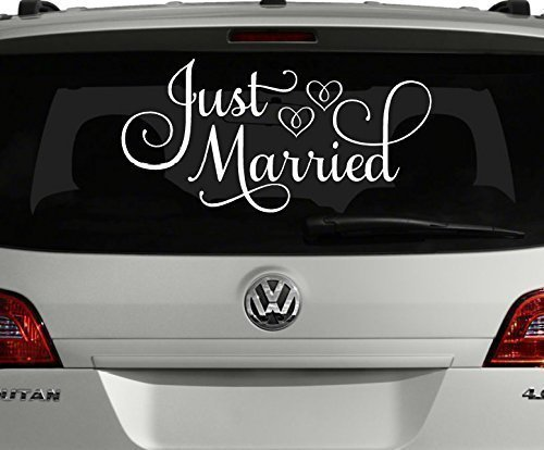 Just married car decal white 24w x 12h just married
