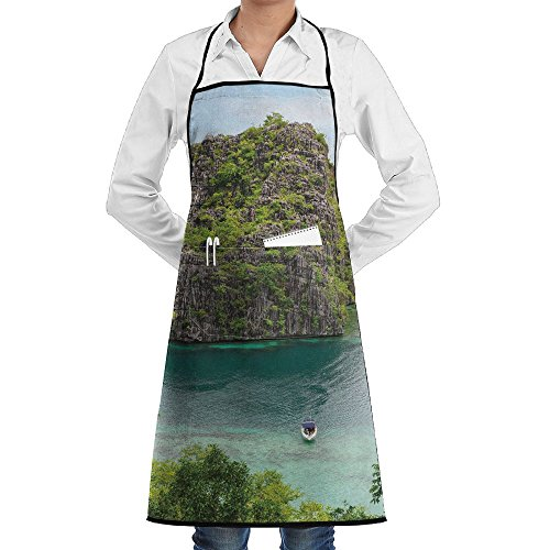 Grill Aprons Kitchen Chef Bib - SarahKen Ocean Landscape Of Majestic Cliff In Philippines Wild Hot Nature Professional For BBQ Baking Cooking For Men Women - Philippines Womens Hot