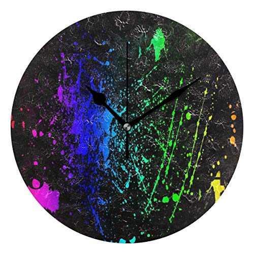 (NMCEO Wall Clock Neon Colors Rock Round Hanging Clock Acrylic Battery Operated Wall Clocks for Home Decor)