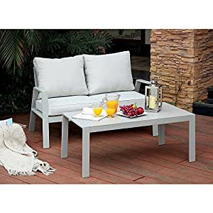 Pensbury Love Seat in Light Grey Aluminum - Outdoor Patio