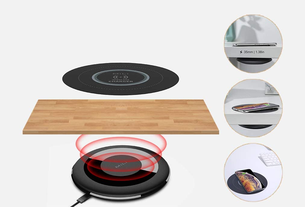 MiLi Table Mate, Wireless Charger, 5W Max. Thin Magnetic Resonance Sensor Mat, Compatible with Phone 11/11Pro/11Pro Max/XS Max/XR/XS,Galaxy Note 10/S10/S9