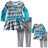 Dollie & Me Little Girls' Dress Legging With Matching Doll Outfit, Gray/Turquoise, 5
