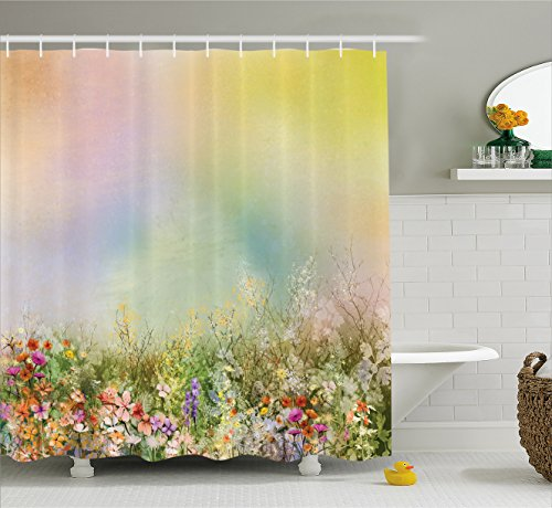 Ambesonne Watercolor Flower Home Decor Shower Curtain, Cosmos Daisy Cornflower Wildflower Dandelion in Floral Meadow Scene, Fabric Bathroom Decor Set with Hooks, 70 Inches, (Wild Daisy)