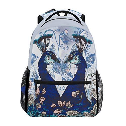 Flower Peacock Print Shoulder Backpack Student Bookbags for Travel Kid Girls Boys