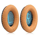 kwmobile 2x earpads for Bose Quietcomfort Earphones - Leatherette replacement ear pad for Bose Headphones - light brown