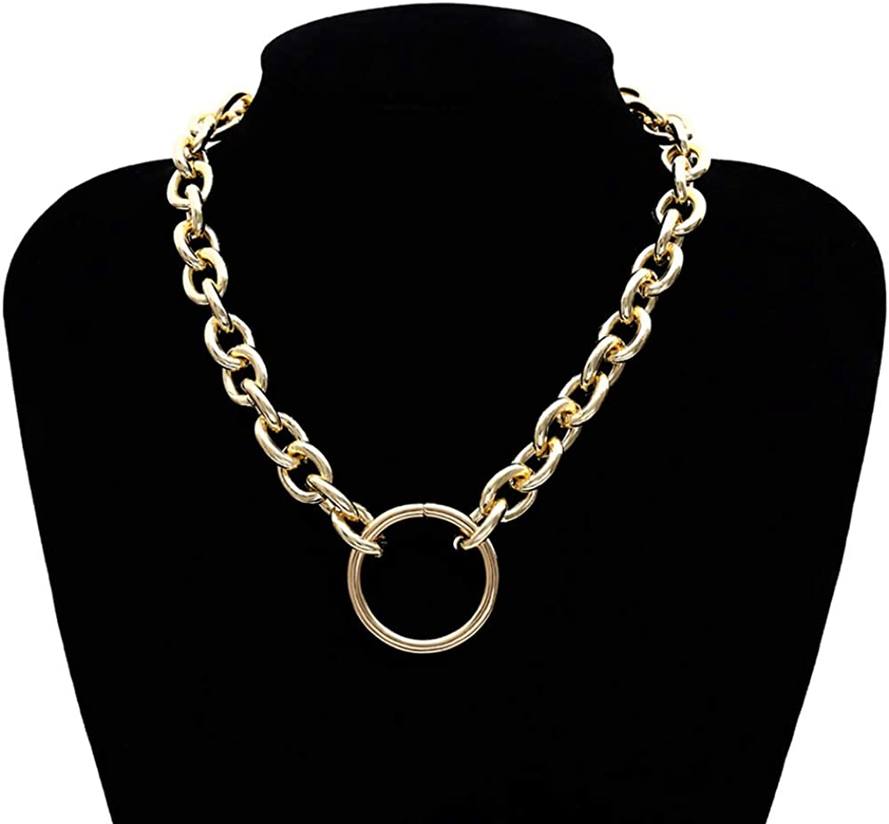 Huture Retro Punk Style Hip Hop Costume Jewelry Snake Curb Turnover Chain Necklace Bracelet Set Fully Adjustable Durable Strong Removable Delicate for Men Women, Gold : Clothing