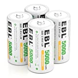 EBL C Batteries High Energy 5000mAh Ready2Use C Rechargeable Battery Cells, 4 Counts