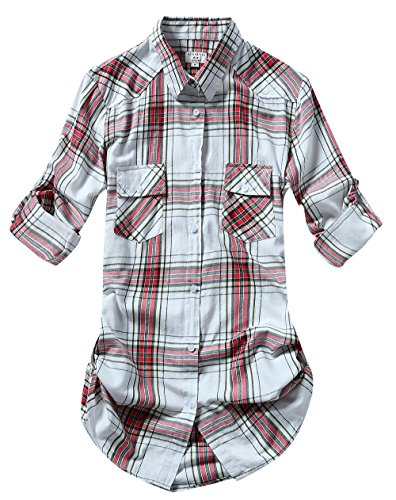 (Match Women's Long Sleeve Cotton Plaid Shirt (XX-Large, 2027 Checks#2))