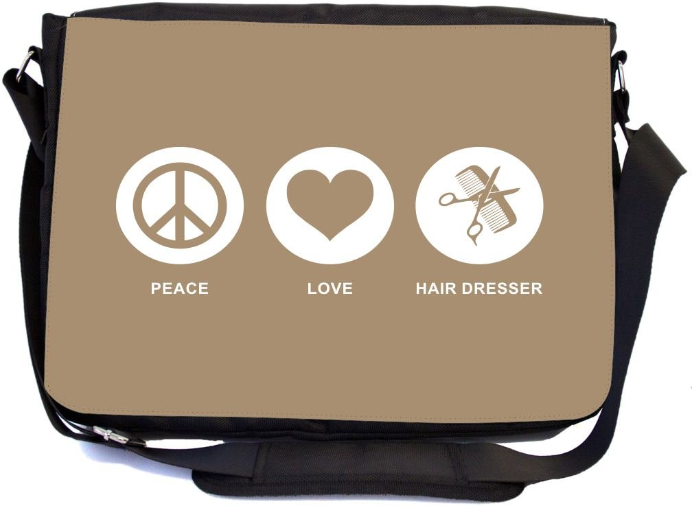 Rikki Knight Peace Love Hair Dresser Brown Color Design Multifunctional Messenger Bag - School Bag - Laptop Bag - with Padded Insert for School or Work - Includes Matching Compact Mirror