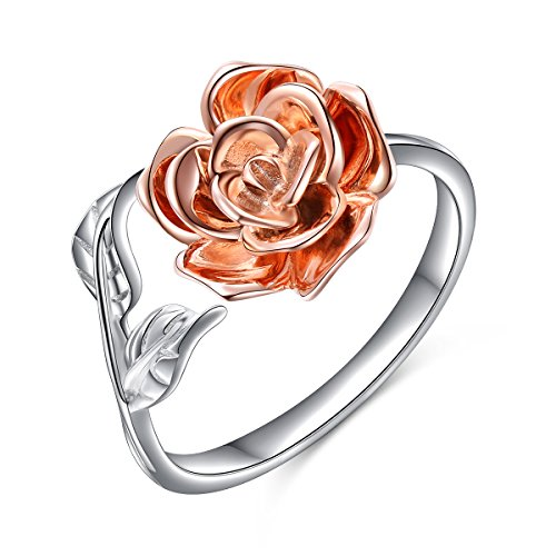 (ALPHM Rose Flower Ring Women S925 Sterling Silver Adjustable Wrap Open Little Tail Ring Size 5)