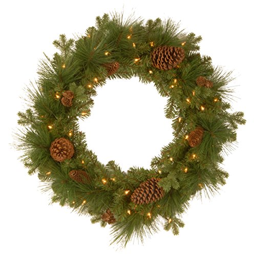 24 Inch Feel Real Eastwood Spruce Wreath with 18 Mixed Pine Cones and 50 Warm White Battery Operated LED Lights with Timer () - National Tree PEEW3-300-24WB1