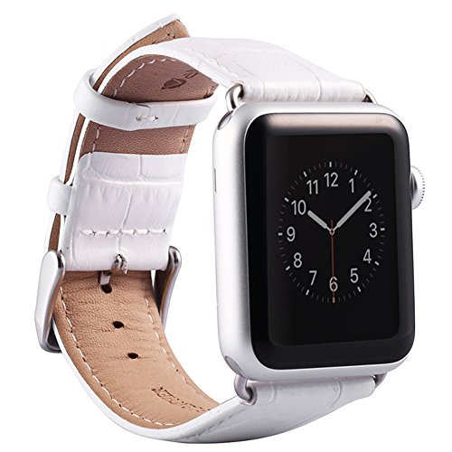 Valkit for Apple Watch Band - iWatch Bands 38mm Genuine Leather Strap iPhone Smart Watch Band Bracelet Replacement Wristband with Stainless Steel Adapter Metal Clasp for Apple Watch 3 2 1, 38 MM White