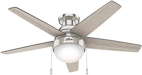 Hunter Parmer 46 in. LED Indoor Brushed Nickel Ceiling Fan