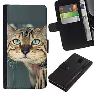 eJoy---La carpeta del tirón la caja de cuero de alta calidad de la PU Caso protector - Samsung Galaxy Note 3 III - --Ocicat Savannah Serengeti Bengal Sad