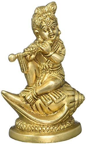 Brass Statue Of Baby Krishna Sitting On Conch Shell Playing Flute 4.5 Inch Weight-580 (Boy Playing Statue)