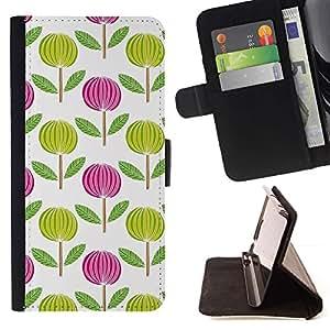 Momo Phone Case / Flip Funda de Cuero Case Cover - Rose Blanc Vert Wallpaper - LG G4 Stylus H540