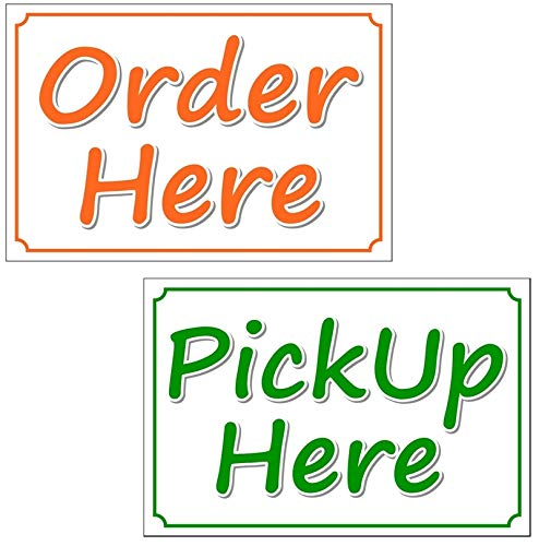 Order Here & Pick Up Here - Notice Sign Vinyl Label Sticker Decal for Business Retail Store, Shop, Office, Restaurant - Outdoor/Indoor Back Adhesive Vinyl, Sticker Size 9